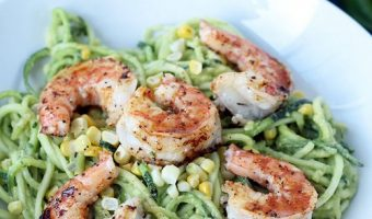 Avocado-Basil Zucchini Noodles with Chili-Lime Shrimp and Corn